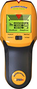 "Zircon Stud Finder A250c Pro 4 in 1 MultiScanner; 3-color LCD Screen Stud/DeepScan Modes Detect Edges/Center of Wood/Metal to 1 ½"" Metal Mode Lath & Plaster AC Detects Live, Unshielded AC US Model"