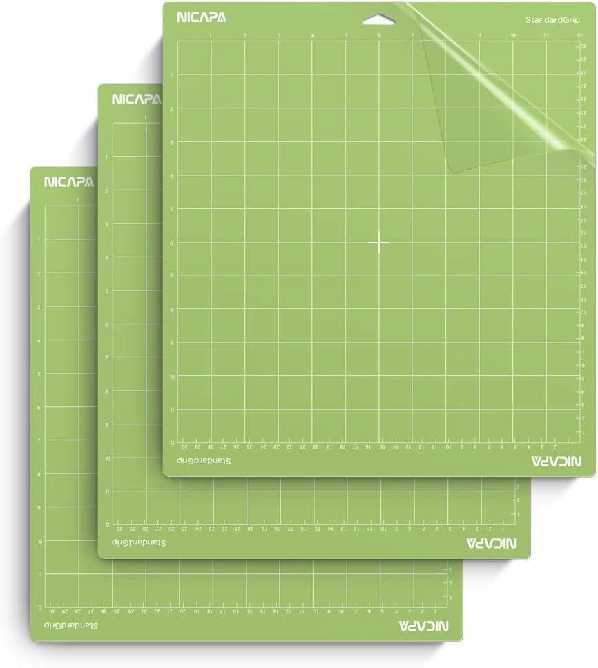 30,5 x 61 cm, 3 Matten Nicapa Standard-Grip-Schneidematte f/ür Cricut Explore One//Air//Air 2//Maker Standard-Klebematte zum Quilten und Cricket-Ersatz