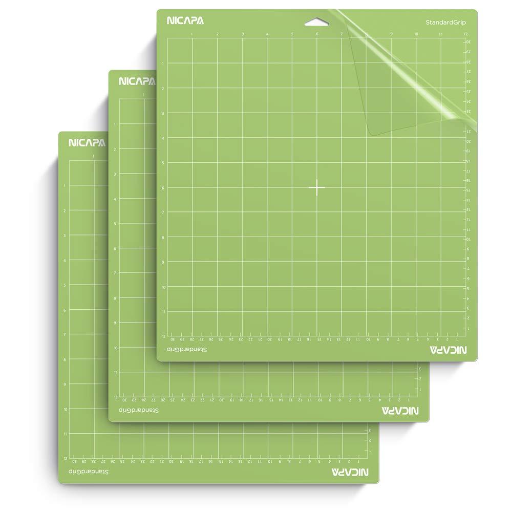 Nicapa Cutting Mat for Cricut Explore Air/Air 2/Maker (Standardgrip,12x12  inch,3pack) Adhesive Sticky Non-Slip Gridded Vinyl Green Cut Mats