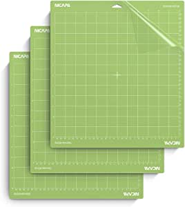 Nicapa Standard Grip Cutting Mat for Cricut Explore Air 2 Maker(12x12 inch,3 Pack) Standard Adhesive Sticky Green Quilting Cricket Replacement Cut Mats