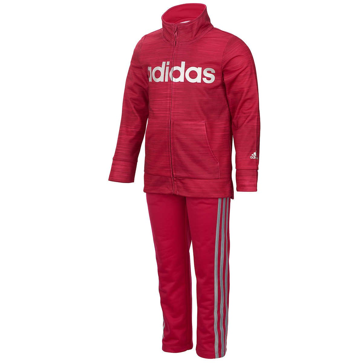 Adidas Girls' Tricot Zip Jacket and Pant Set (Pink, 2T)
