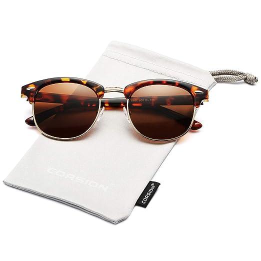 f6506fc91c8 COASION Retro Semi Rimless Polarized Clubmasters Sunglasses Classic Men  Women Clear Glasses (Brown Havana Frame
