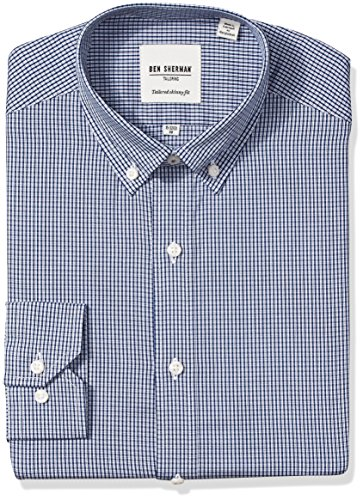 ben-sherman-mens-skinny-fit-mini-check-button-down-collar-dress-shirt-navy-16-neck-34-35-sleeve