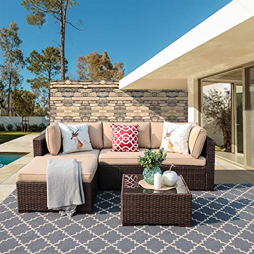 Super Patio Outdoor Patio Furniture Set, 5-Piece All Weather PE Brown Wicker Set Sofas with Glass Coffee Table and Ottoman, Steel Frame, Beige Cushions