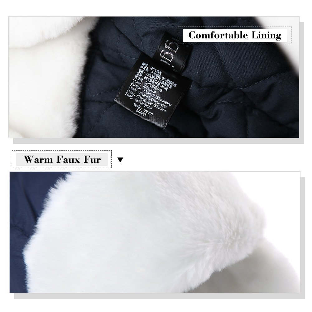 4a6befb41d7 SIGGI Trapper Hat Faux Fur Aviator Hat with Ear Flaps Russian Winter Cold  Weather Hat Men