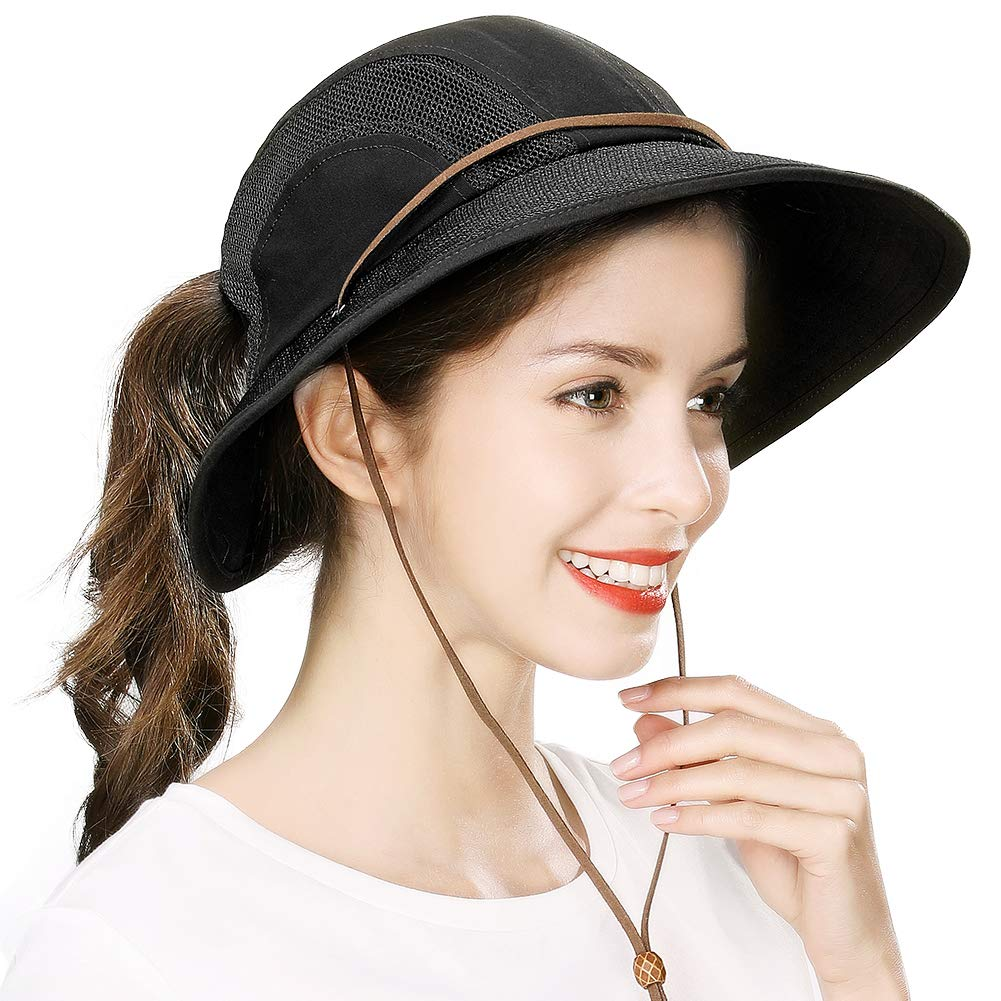 Ponytail Fishing Bucket Sun Hat for Women UV Protection Packable Foldable Wide Brim SPF Hunting Ladies Safari Sunhat