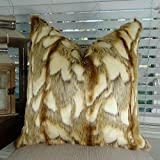 Thomas Collection Luxury Fox Faux Fur Throw Pillow, Brandy Fox Fur Secorative Pillow, Light Brown Copper White Faux Fur Pillow, Fur Pillow , COVER ONLY, NO INSERT, Made in America, 17426