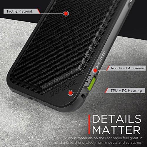 Iphone 7 Plus Caso, X-Doria (Defensa Lux) para el iPhone, Dual Protection iPhone 7 Plus , de absorción de impactos, de primera calidad protectora del iPhone 7 Plus más la caja de(Rose Gold & Tissu gri Fibre de carbone