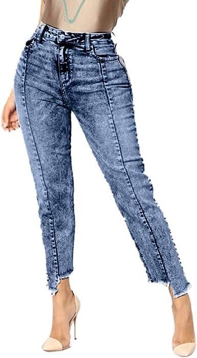 STORTO Women Distressed Skinny Jeans Denim High Waist Stretch Shaping Pants