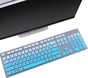 Keyboard Cover Skin Fit Dell KM636 Wireless Keyboard/Dell KB216 Wired Keyboard/Dell Optiplex 5250 3050 3240 5460 7450 7050/Dell Inspiron AIO 3475/3670/3477 All-in one Desktop-Gradual Blue