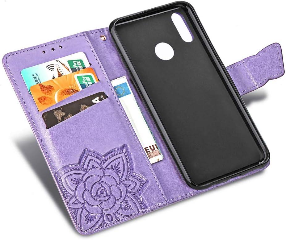 COTDINFORCA Embossed Butterfly Pattern flip Card Set Cash Leather case SD Flower Butterfly Advanced PU Body case for Huawei P30 Lite//Nova 4E Huawei P30 Lite Wallet case Light Purple