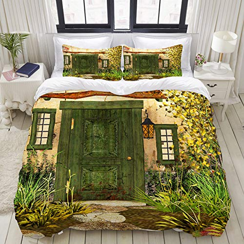 BEIDIDA Rustic Cottage Door Overgrown Bushes Grass Tree Garden Brick Fairy Tale Countryside College Dorm Room Decor Decorative Custom Design 3 PC Duvet Cover Set Twin/Twin Extra Long