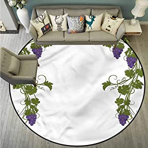 """Bedroom Round Rugs,Vine,Wedding Inspired Green Gate,for Outdoor and Indoor,4'7"""""""