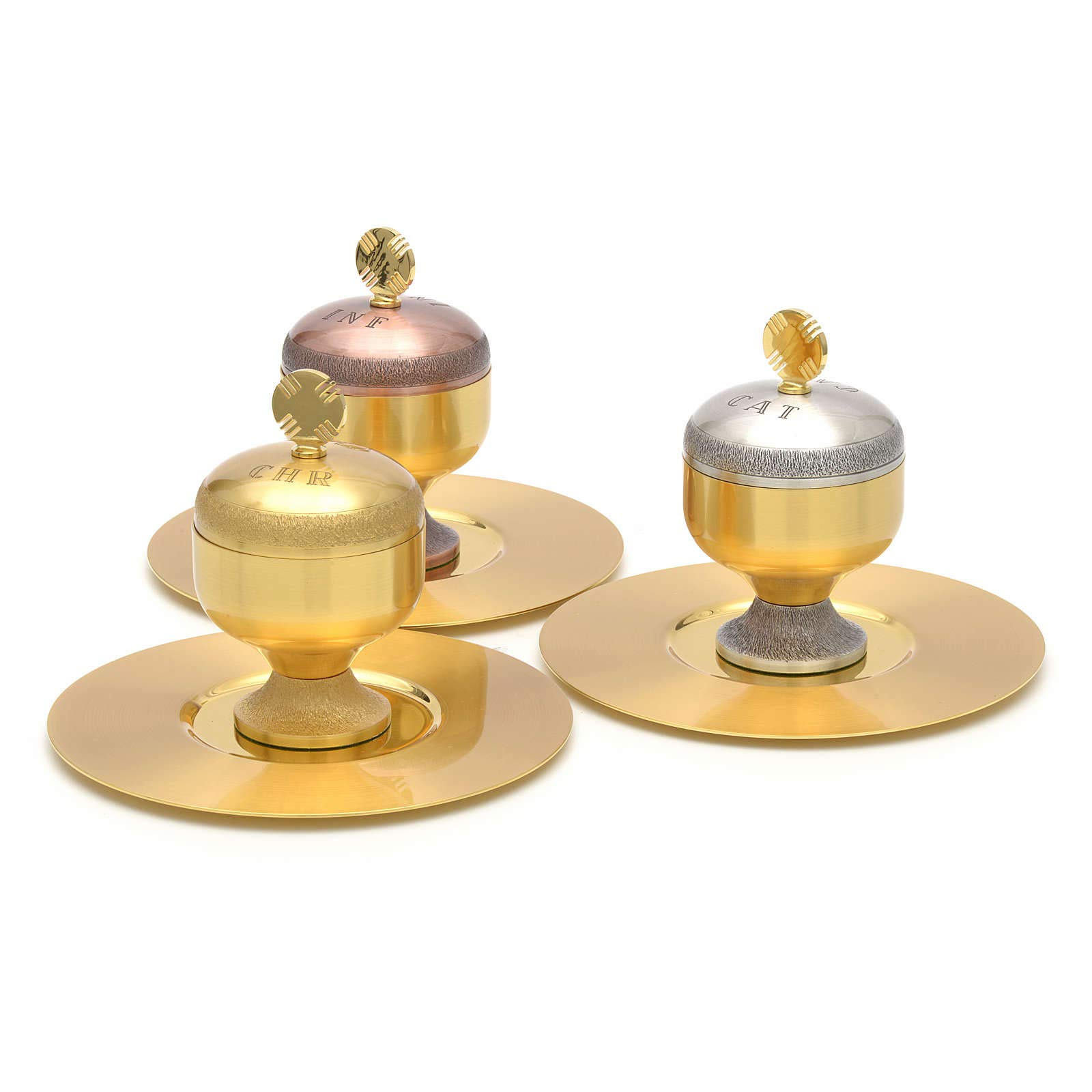 Holy Oils: Stocks in Gold Plated Brass with a Saucer, Catechumens by Holyart (Image #2)