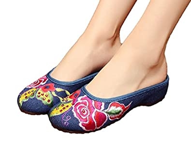 bac953ab5e73 Tianrui Crown Women s Chinese Bow Embroidery Flats Shoes sandal slippers