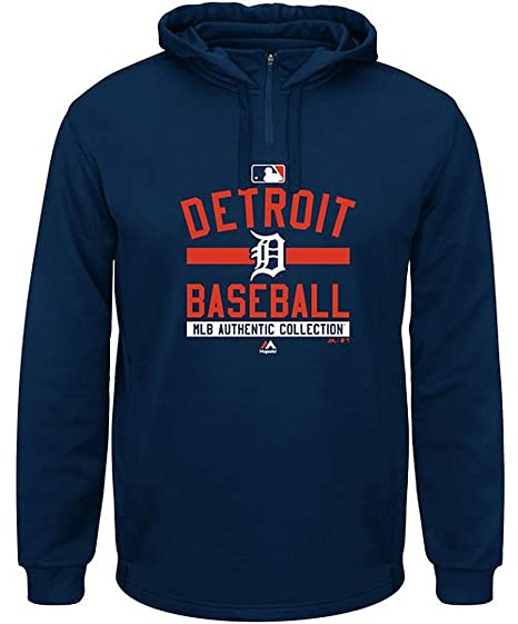 pretty nice 9435d 33213 Detroit Tigers MLB Mens Authentic Collection Colorblock 1 4 Zip Hoodie Navy  Big Sizes (