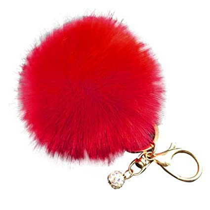 788a21d60900 Image Unavailable. Image not available for. Color  Sikye Faux Fur Pom Pom  Keychain for Handbag ...