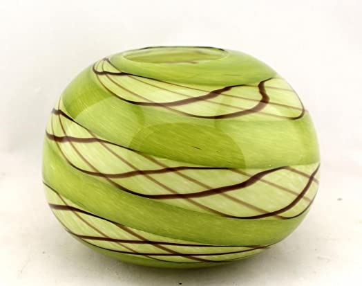 8 Hand Blown Glass Murano Art Style Vase Bowl Candle Holder Green Decorative