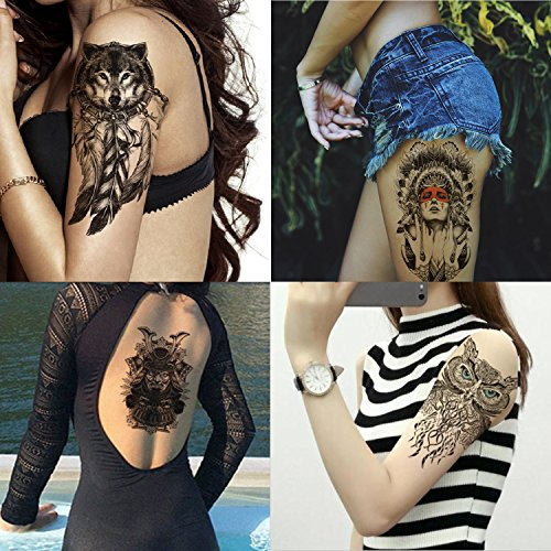 Dalin 4 Sheets Temporary Tattoos, Sled Dog, Owl, Indian -