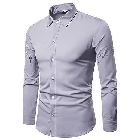 Amazon.com: kaifongfu Shirt for Men,Tops Long Sleeve with Arm Hollow Lapel Shirt for Men Blouse: Clothing