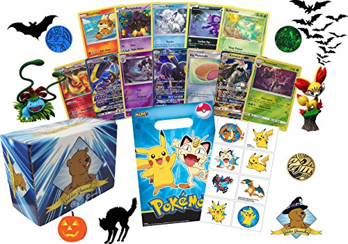 Pokemon Trick or Treat Grab Bag - Featuring 50 Pokemon Cards - Rares Foils! 1 EX and 1 GX! Pokemon Bag and Tattoos! Includes Golden Groundhog Storage Box! (Pokemon Trick Or Treat)
