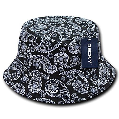 DECKY Paisley Bandana Print 100% Cotton Bucket Hat - Black - S-M ()