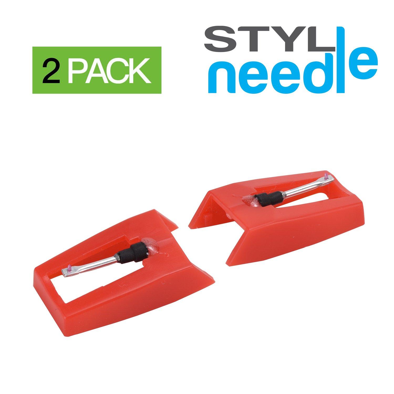 Stylineedle Paquete de 2 agujas con punta de diamante para tocadiscos Crosley, Ion, Jensen, Bush, Numark y Teac SN02AND