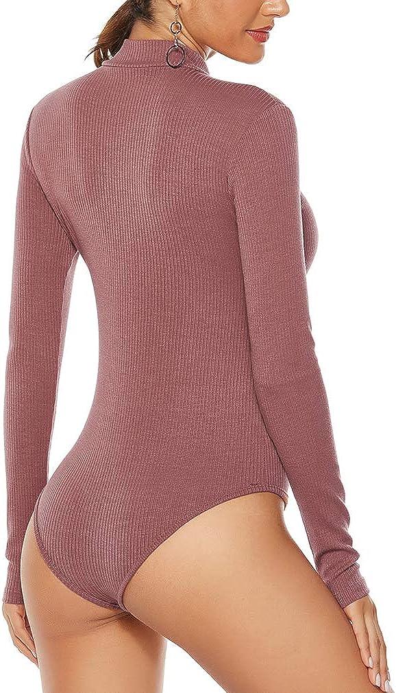 elegante per il tempo libero elegante elasticizzato con collo alto Body da donna a maniche lunghe Sunnykud