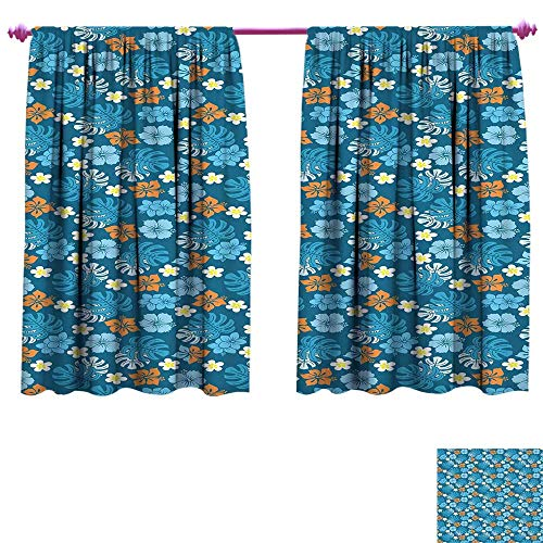 Luau Blackout Window Curtain Tropical Plants Pattern with Swiss Cheese Plants and Exotic Flowers Growth Image Customized Curtains W63 x L63 Blue Marigold