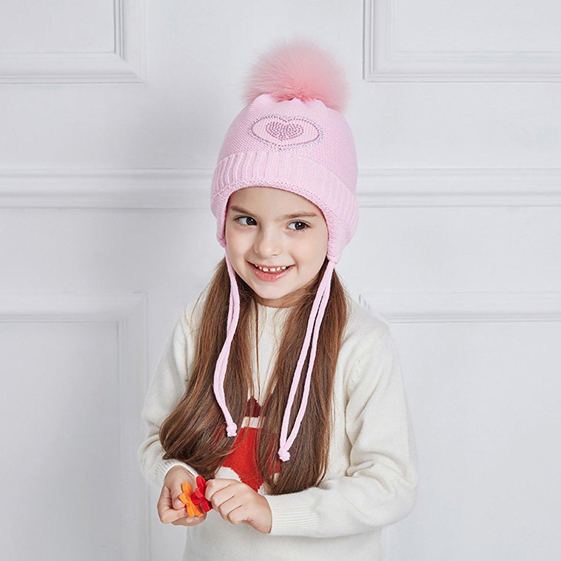 7e314e7f6ddb URSFUR Mignon Bonnet Tricot à Cache Oreilles Pompon Fourrure Chapeau Bonnet  Beanies Bébé Fille Enfant Hiver Cap rose  Amazon.fr  Vêtements et  accessoires