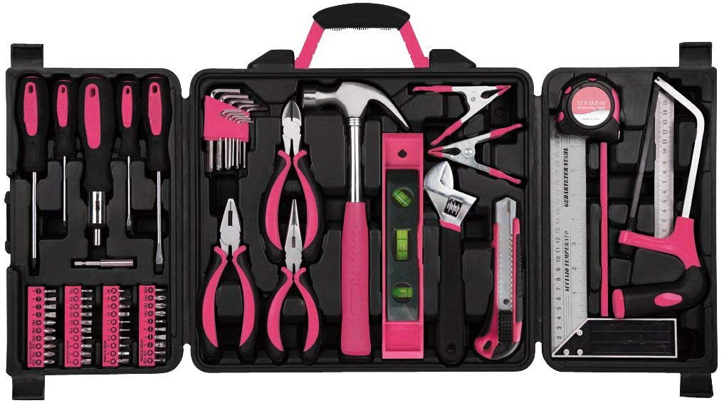 Tool Kit. Best Portable Small Basic Starter Professional Household DIY Hand Mixed Repair Set W/Storage Case For Home, Garage, Office For Men, Women. Includes Screwdriver, Wrench, Pliers, Etc.