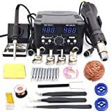 2 in 1 800W LED Digital Soldering Station Hot Air Gun Rework Station Electric Soldering Iron for Phone PCB IC SMD BGA…