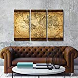"TOP DecorArt Wall Art Vintage World Map Canvas Stretched Framed Ready to Hang 3 Panels 16x32""Artwork for Living Room Office Decoration offers"