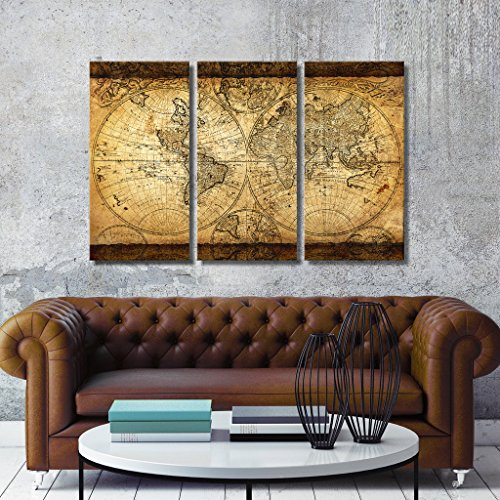 TOPHOME Wall Art Vintage World Map Canvas Stretched Framed Ready to Hang 3 Panels 16x32