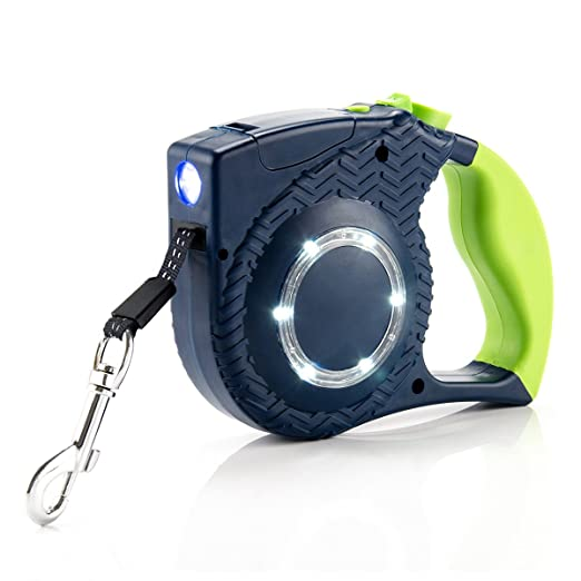 SOLOFISH LED Lights Retractable Dog Leash - Best for Walking at Night