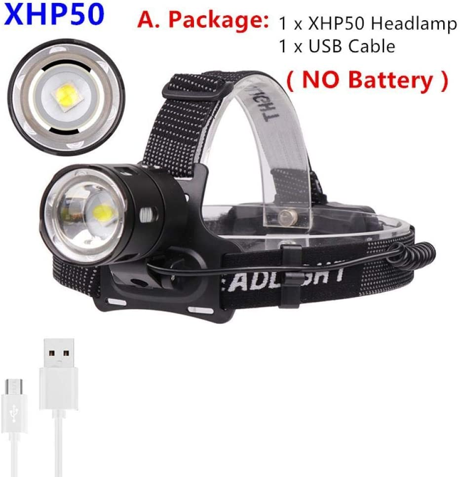 XWYWP LED Headlamp 3-Mode Zoom Headlight 4000LM High Power 18650 Rechargeable Camping Hunting Head Flashlight Torch CPackage Cpackage