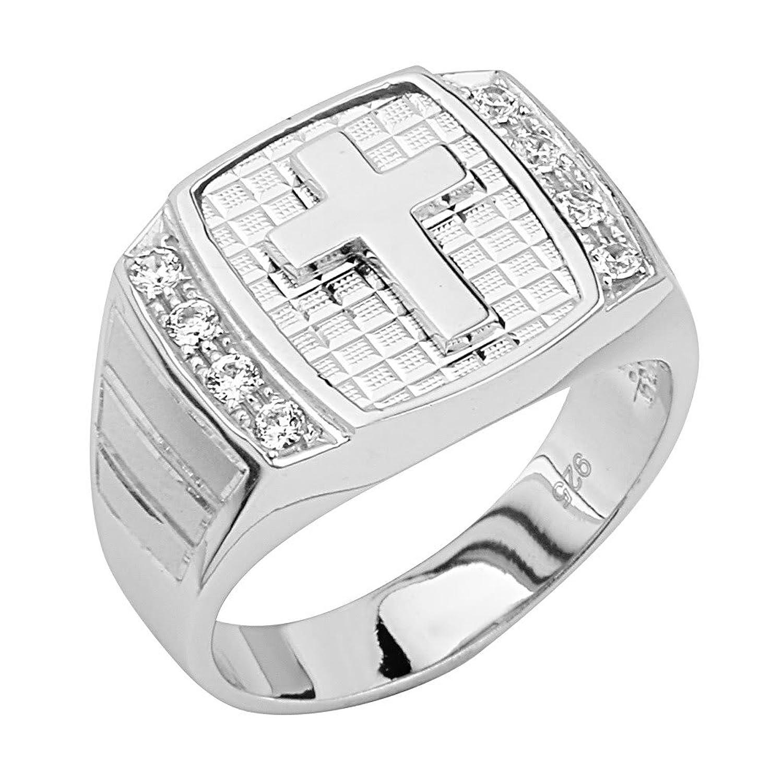 .925 Sterling Silver Rhodium Plated Cross Men's Ring