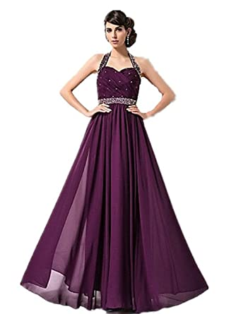 atopdress JL06 Helterneck Ball prom sequined gown evening dress party wear Bridemaids (18, Purple