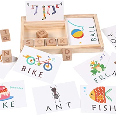 Julvie Preschool Learning Toys Matching Letter Game Teaches Word Recognition See and Spell Learning Toy: Toys & Games