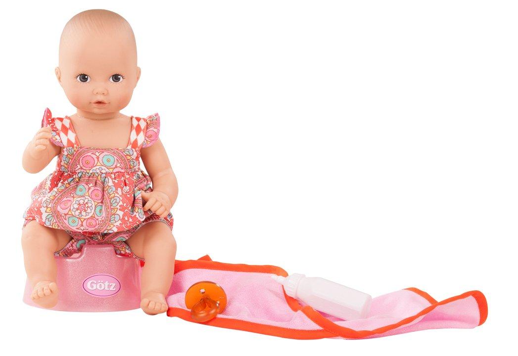 Götz Puppe Aquini Girl Vintage – 33 cm große Badepuppe, ohne Haare, braune Augen, Spielzeug für Mädchen ab 18 Monaten (7-teiliges Set mit Schnuller)