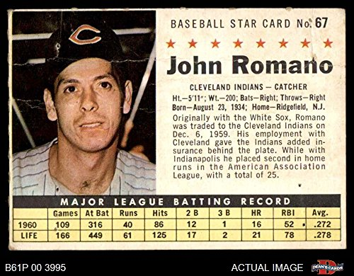 1961 Post Cereal # 67 BOX John Romano Cleveland Indians (Baseball Card) (Handcut from Cereal Box) Dean's Cards 1.5 - FAIR Indians