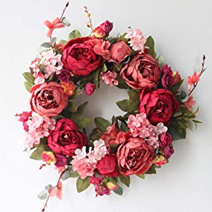 "Door Wreath Artificial Burgundy Peony Flower Wreath Handmade 16"" Floral Wreath Spring Garland for Front Door Wall Wedding Party Office Home Decor"