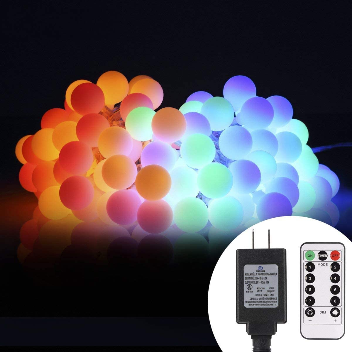 ALOVECO 44ft 100 LED Globe String Lights, 8 Dimmable Lighting Modes with Remote Timer, UL Listed 29V Low voltage Waterproof Decorative Lights for Bedroom, Patio, Garden, Party Multi Color