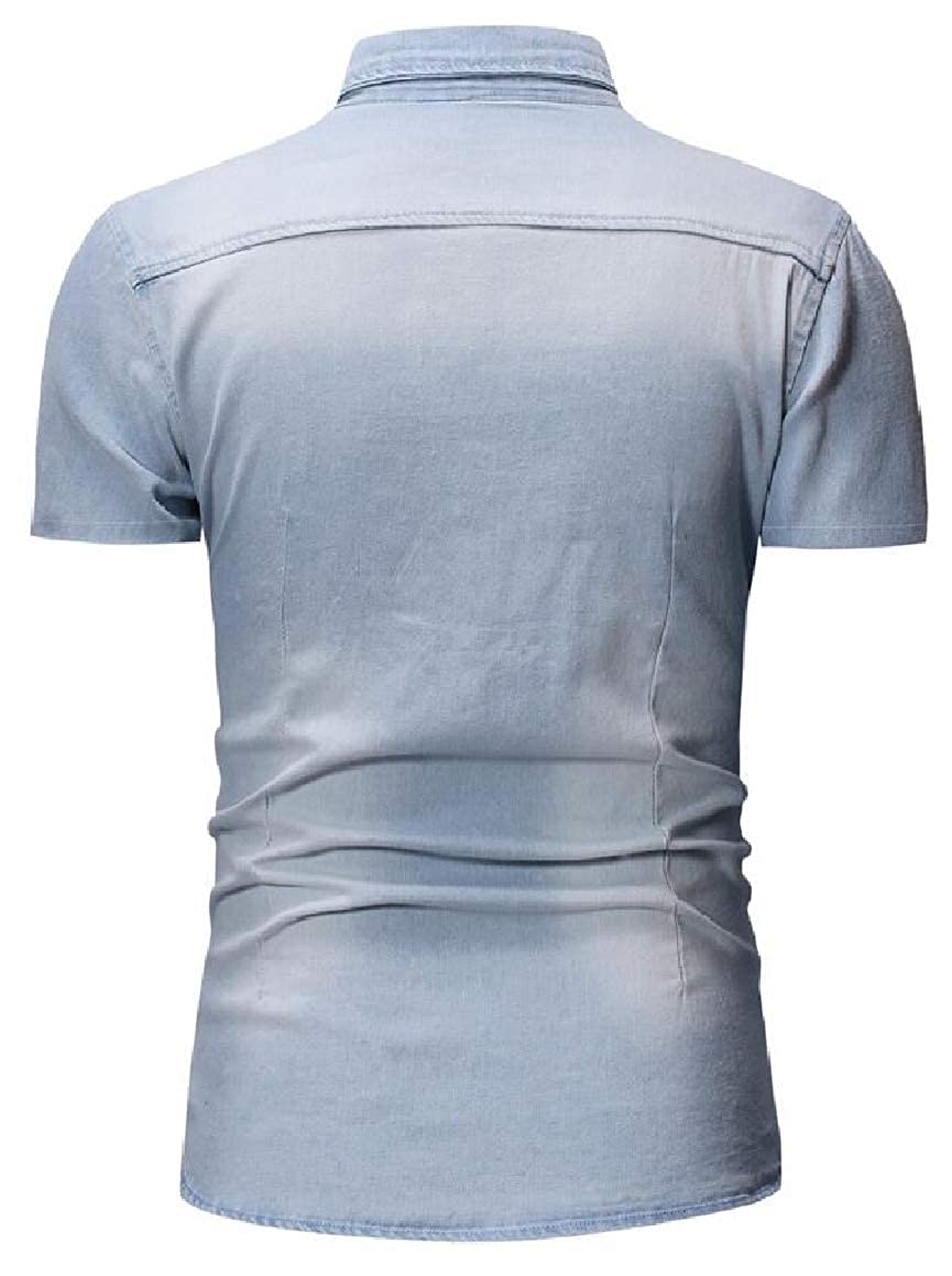 HTOOHTOOH Mens Short Sleeve Slim Fit Summer Button Down Pocket Denim Shirt