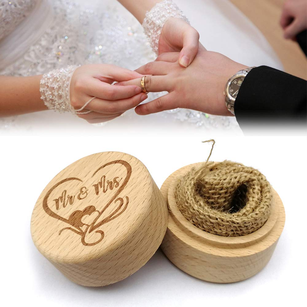 Festnight Wooden Round Beech Wedding Ring Box With Letter Happily Ever After On The Surface