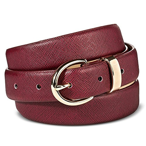 Women's Skinny Belt With Studs in Red Leather by Merona (Small)