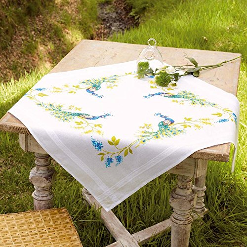Vervaco® Peacocks Table Topper Stamped Embroidery Kit ()