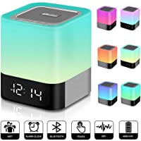 Elecstars Bluetooth Speaker with Night Light, DY28 Touch Control Bedside Lamp with Music Player, Colour Changing Light with Alarm Clock, 48 Colours, 4000mAh, Gifts for Women Men Kids Children (White)