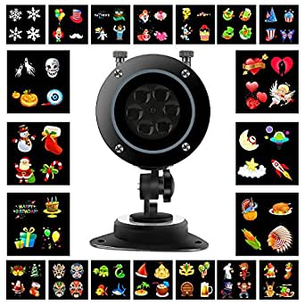 Luxrmoon LED Christmas Projector Lights 20 Patterns 10W LED Projection Light Landscape Spotlight for Holiday Decoration 110-240V with remote control