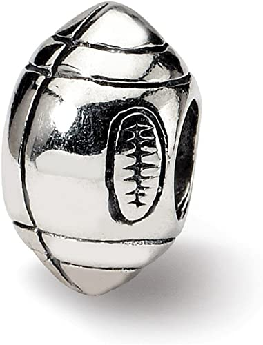 Sterling Silver Reflection Football Solid Bead